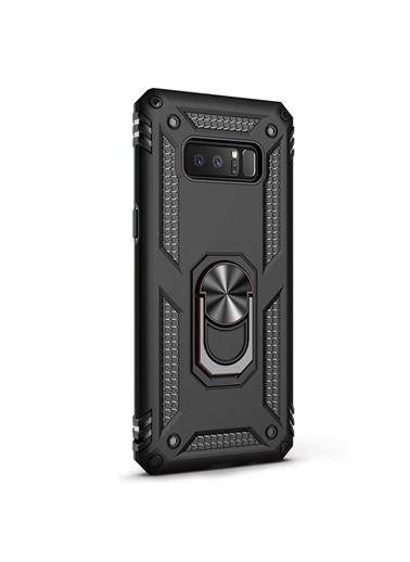 Microsonic Samsung Galaxy Note 8 Kılıf Military Ring Holder Siyah Siyah